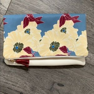 Floral/white leather foldover clutch